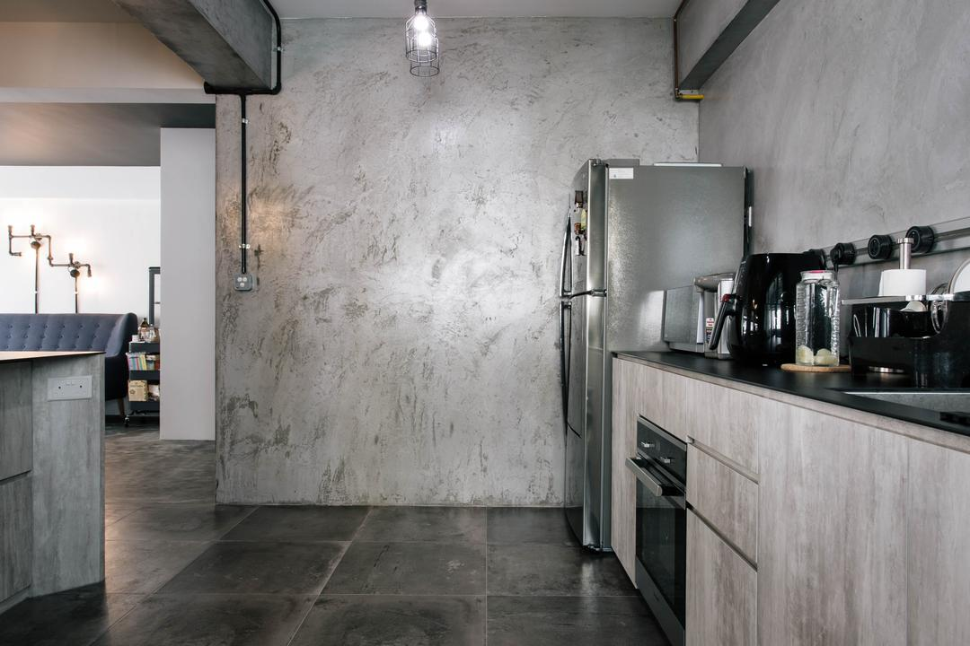 Macpherson Residency, Free Space Intent, Industrial, Kitchen, HDB, Kitchen Cabinet, Cabinetry, Raw, Grey, Concrete Flooring, Cement Screed