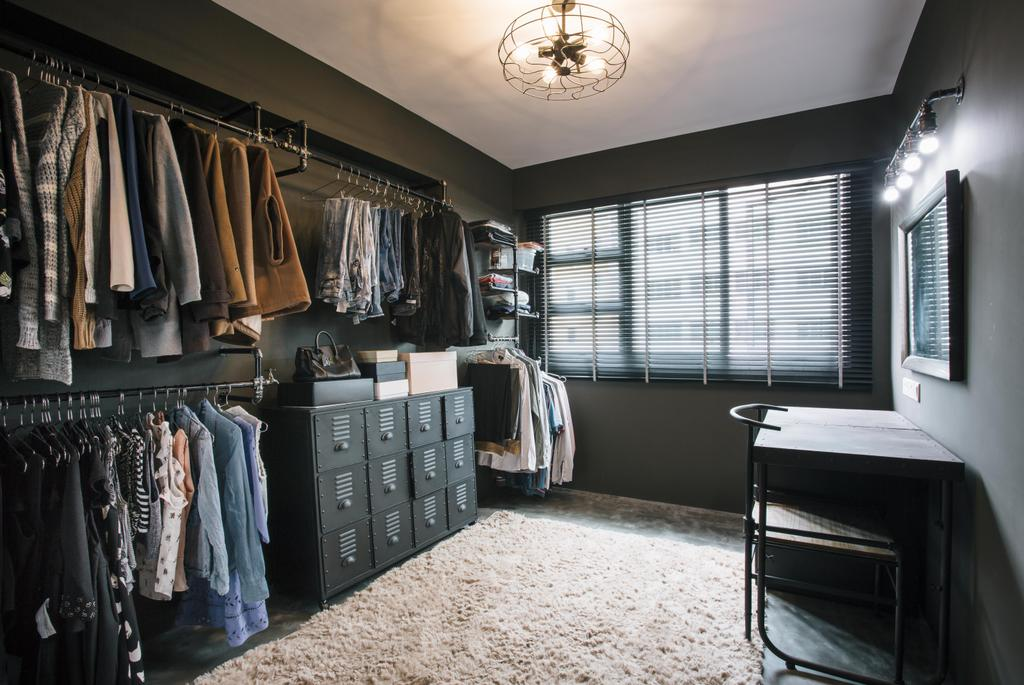 Industrial, HDB, Bedroom, Macpherson Residency, Interior Designer, Free Space Intent, Walk In Wardrobe, Wardrobe, Clothing, Clothes Rack, Ceiling Lamp, Industrial Style Lamp, Open Wardrobe, Open Concept, Carpet, Study Table, Chair, Furniture