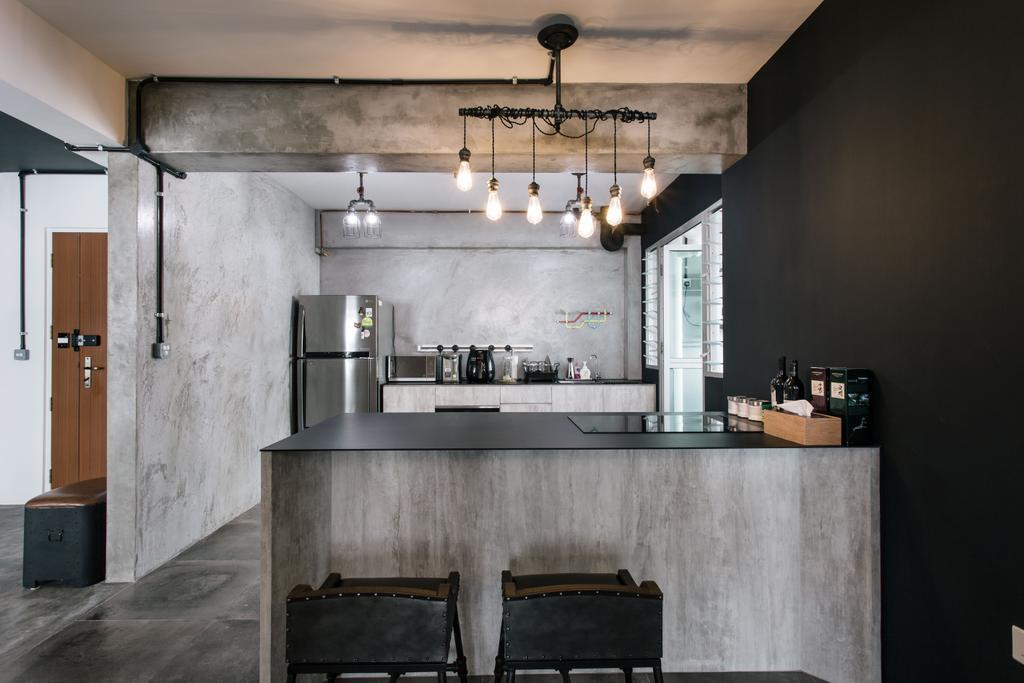Industrial, HDB, Kitchen, Macpherson Residency, Interior Designer, Free Space Intent, Luggage, Suitcase, Blackboard