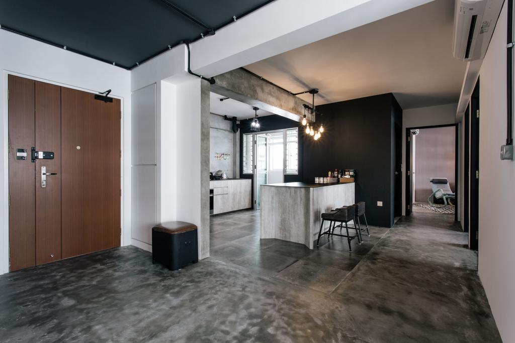 Industrial, HDB, Kitchen, Macpherson Residency, Interior Designer, Free Space Intent, Concrete Flooring, Cement, Raw, Entrance, Door, Open Space, Open Concept, Building, Housing, Indoors, Loft, Corridor, Flooring