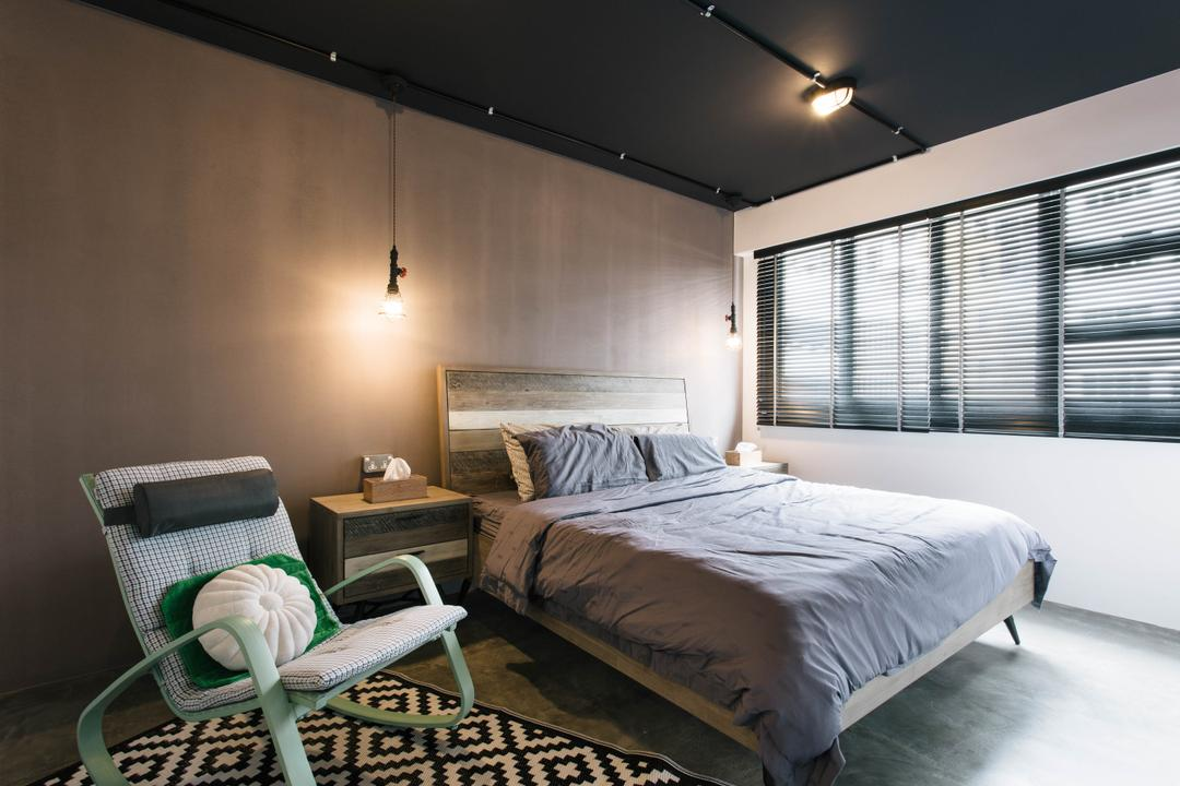 Macpherson Residency, Free Space Intent, Industrial, Bedroom, HDB, Bedframe, Bed Ledge, Hanging Lamp, Bedside Table, Lounge Chair, Retro, Cushion, Cute Cushion, Kuek Cushion, Dark Colours, Chair, Furniture, Bed