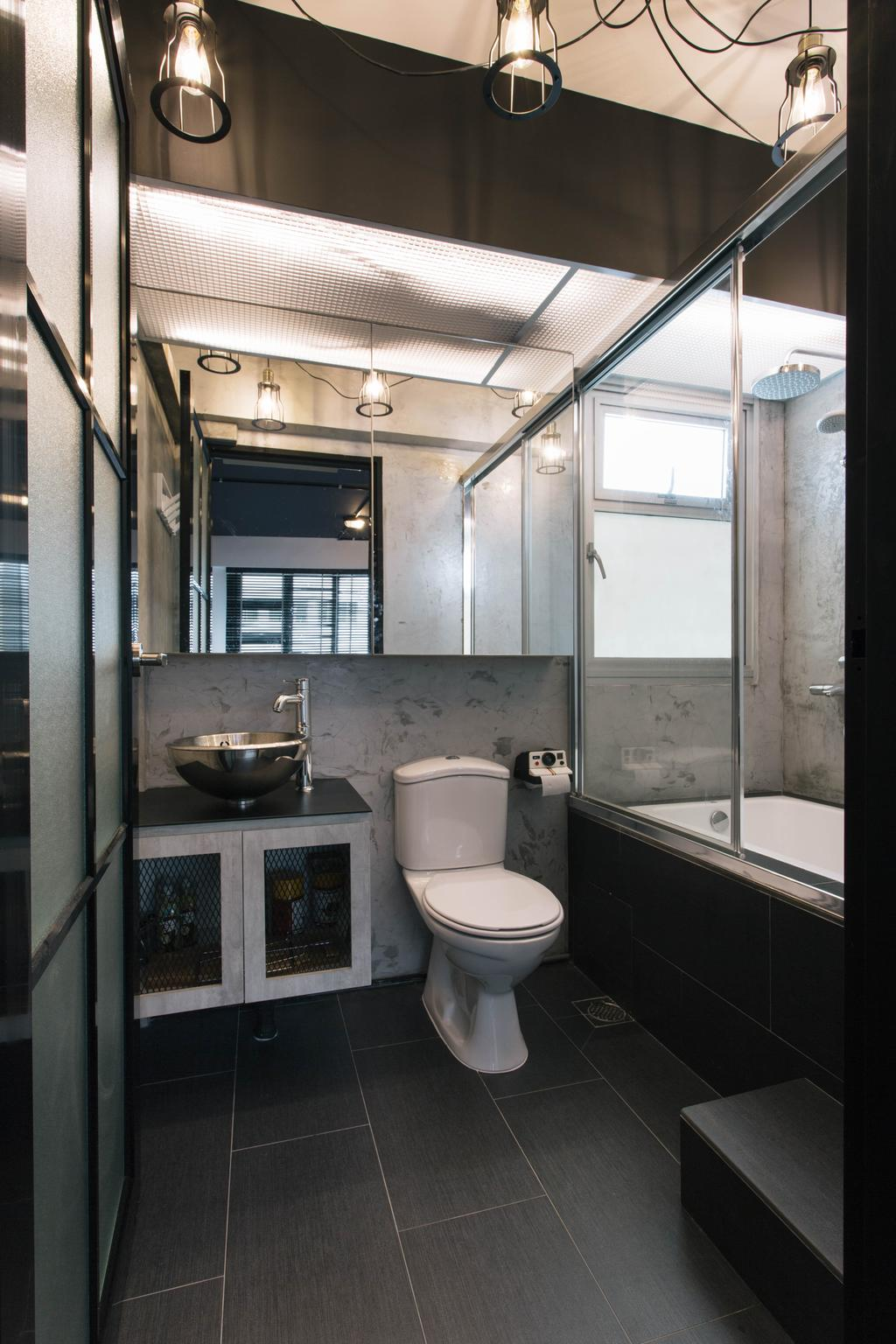 Industrial, HDB, Bathroom, Macpherson Residency, Interior Designer, Free Space Intent, Bathroom Vanity, Bathroom Cabinet, Mirror, Water Closet, Toilet Bowl, Shower Screen, Bathtub, Hanging Lamp, Black Tiles, Bathroom Tiles, Toilet, Sink, Indoors, Interior Design, Room