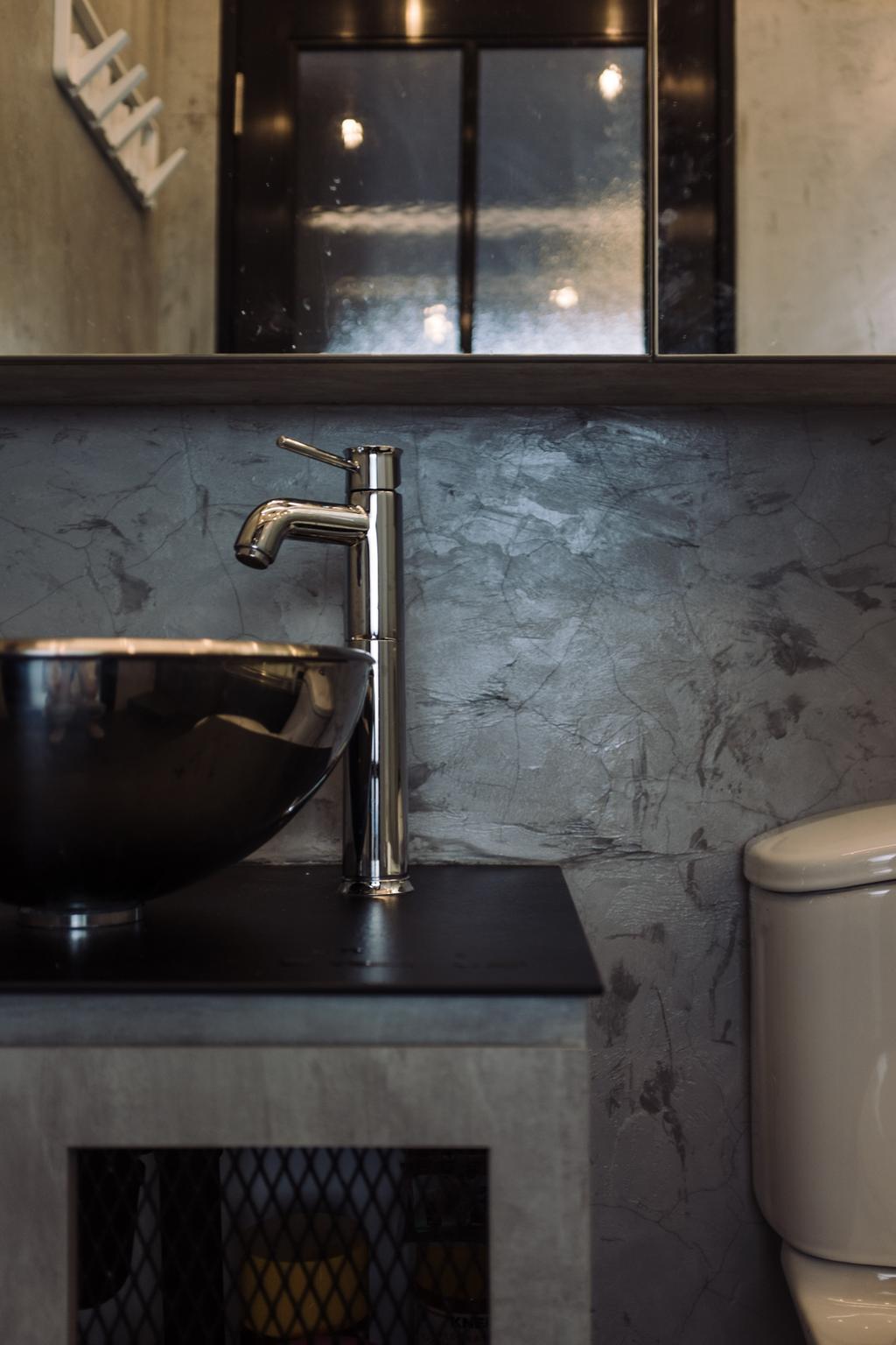 Industrial, HDB, Bathroom, Macpherson Residency, Interior Designer, Free Space Intent, Vessel Sink, Black Sink, Toilet