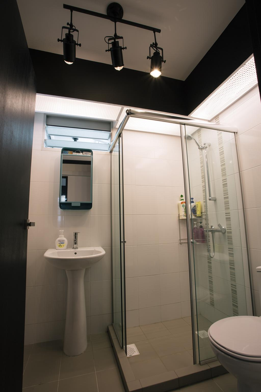 Industrial, HDB, Bedroom, Macpherson Residency, Interior Designer, Free Space Intent, Bathroom Sink, Standing Sink, Pedestal Sink, Mirror, Shower, Shower Area, Bathroom, Indoors, Interior Design, Room