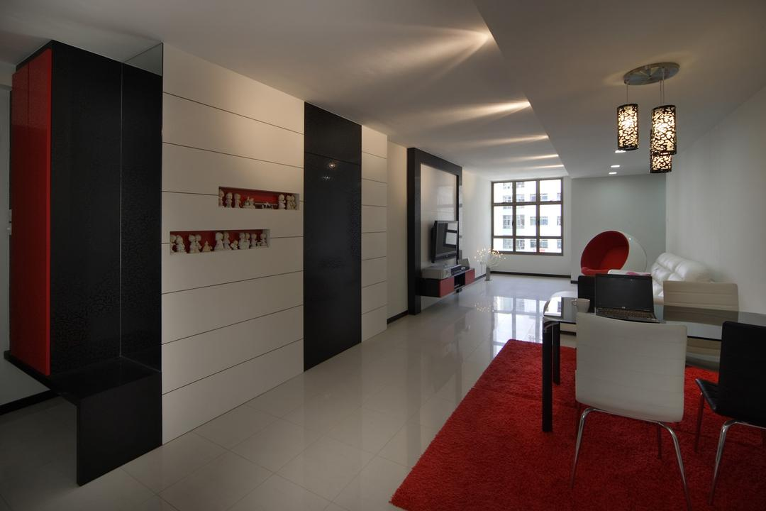 Jurong West (Block 678C), Chapter One Interior Design, Transitional, Dining Room, HDB, Rug, Hanging Light, Lighting, Pendant Light, False Ceiling, White, Black, Display Shelf, Shelf, Shelve, Wall Panels, Marble Flooring, Red, Monochrome, Chair, Furniture, Indoors, Interior Design, Corridor, Couch