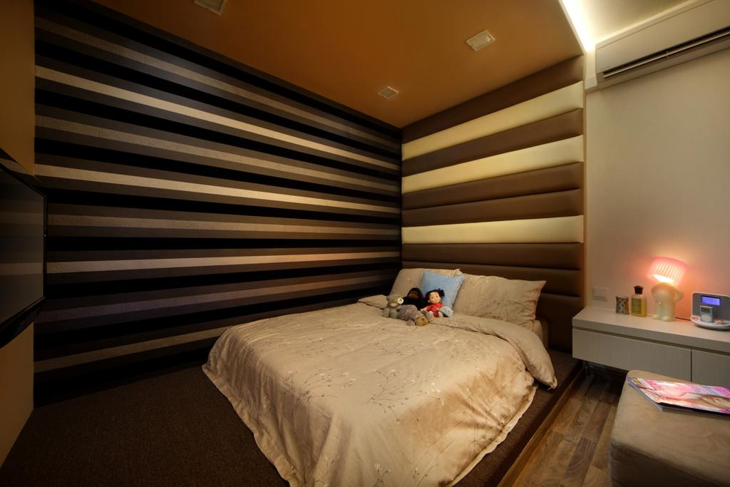 Transitional, HDB, Bedroom, Hougang Avenue 2, Interior Designer, Chapter One Interior Design, Padded, Padded Headboard, Stripes, Concealed Lighting, Side Table, Night Stand, Striped Table, Stools, Indoors, Interior Design, Room