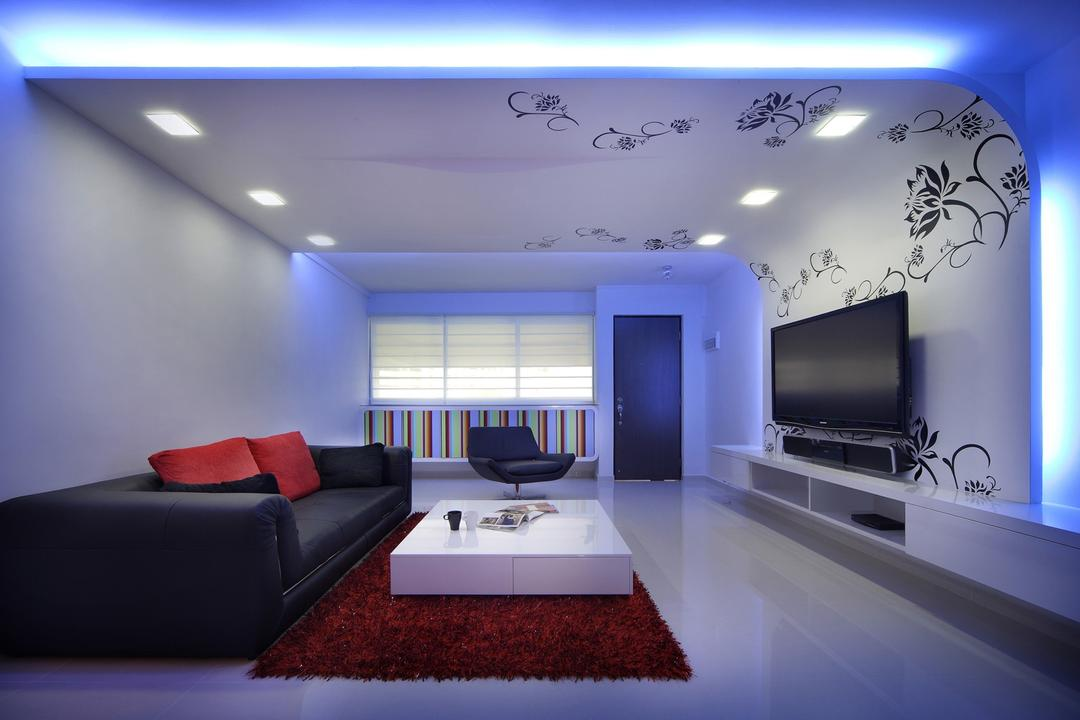 Hougang Avenue 2, Chapter One Interior Design, Transitional, Living Room, HDB, Blinda, Wall Art, Wall Sticker, Floral, False Ceiling, False Wall, Concealed Lighting, Rug, Coffee Table, Sofa, Chair, White, Couch, Furniture, Indoors, Interior Design