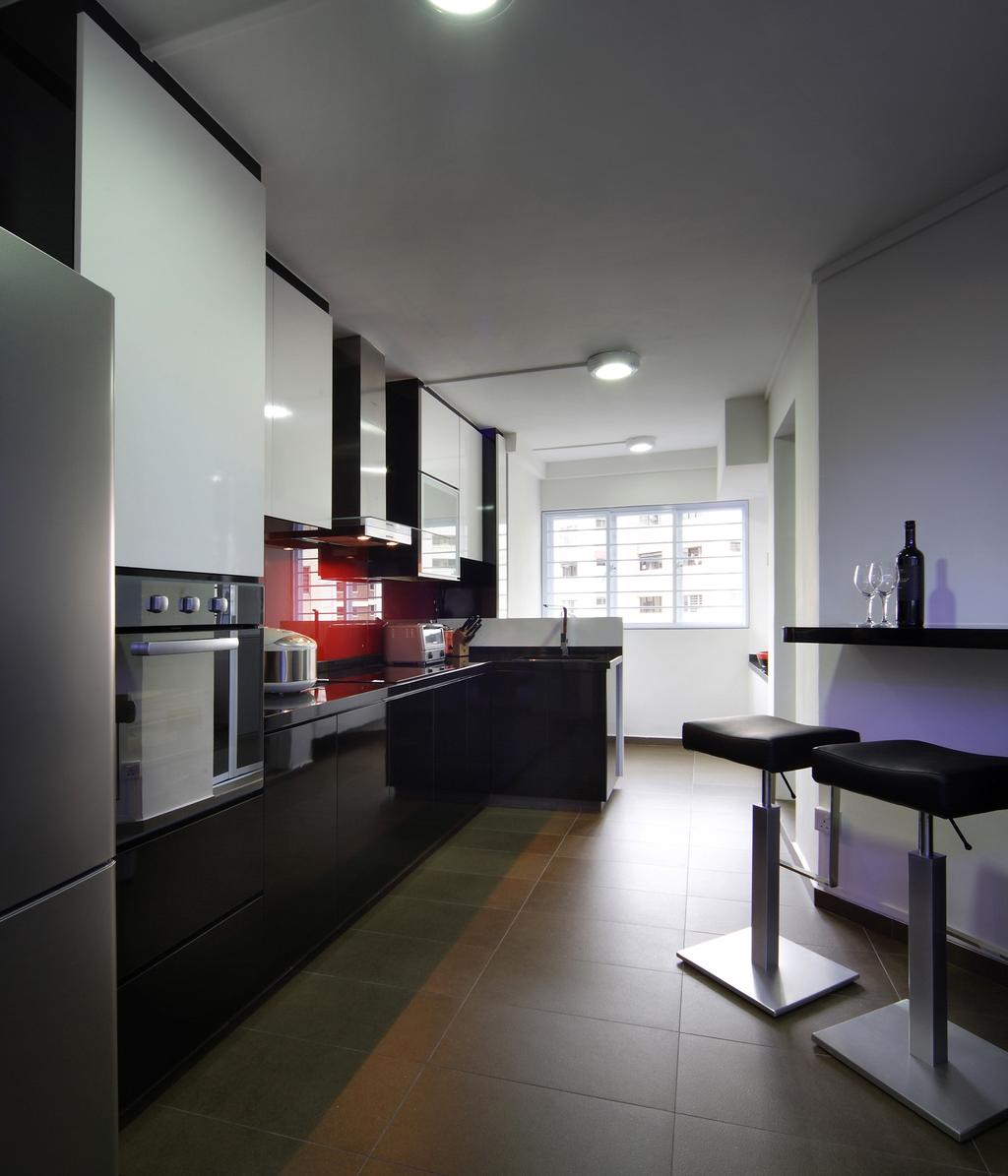 Transitional, HDB, Kitchen, Hougang Avenue 2, Interior Designer, Chapter One Interior Design, Barstools, Chair, Kitchen Counter, Tile, Tiles, Exhaust Hood, Mounted Table, Black, White, Red, Cabinet, Building, Housing, Indoors, Loft, Furniture, Appliance, Electrical Device, Oven, Interior Design, Room