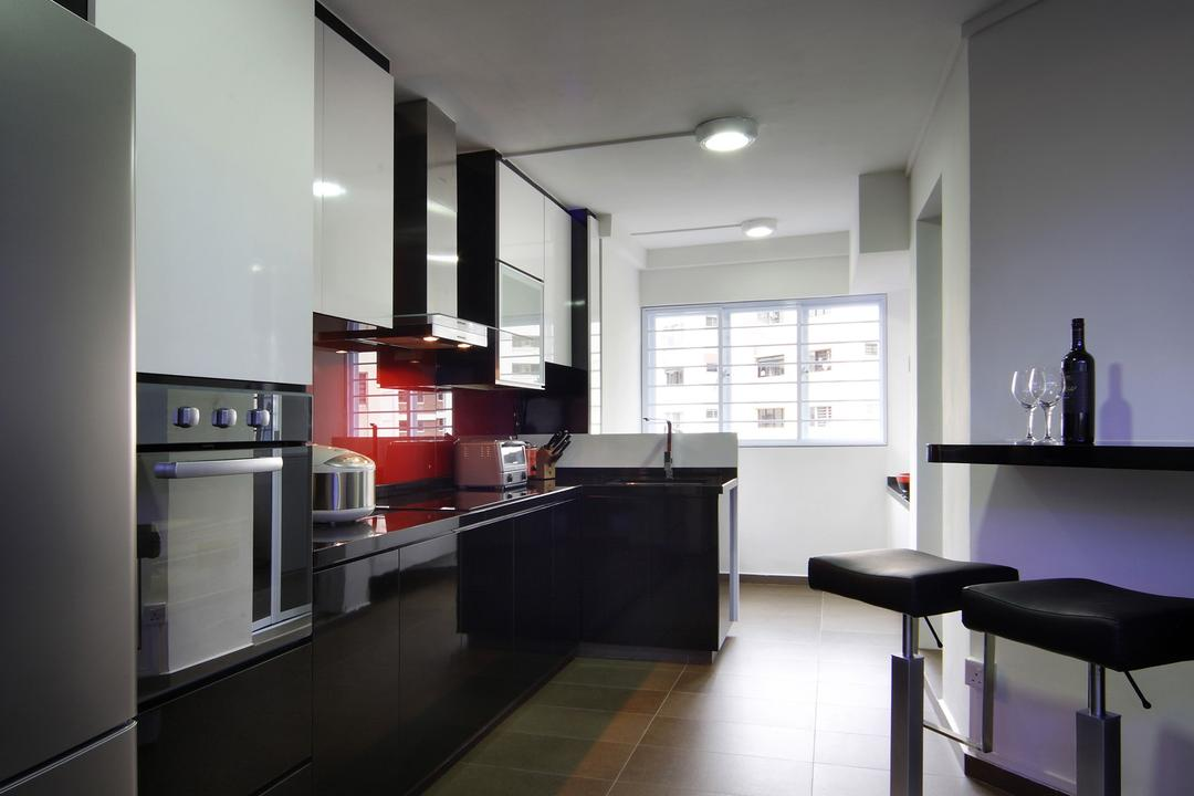 Hougang Avenue 2, Chapter One Interior Design, Transitional, Kitchen, HDB, Barstools, Chair, Kitchen Counter, Tile, Tiles, Exhaust Hood, Mounted Table, Black, White, Red, Cabinet, Building, Housing, Indoors, Loft, Furniture, Appliance, Electrical Device, Oven, Interior Design, Room