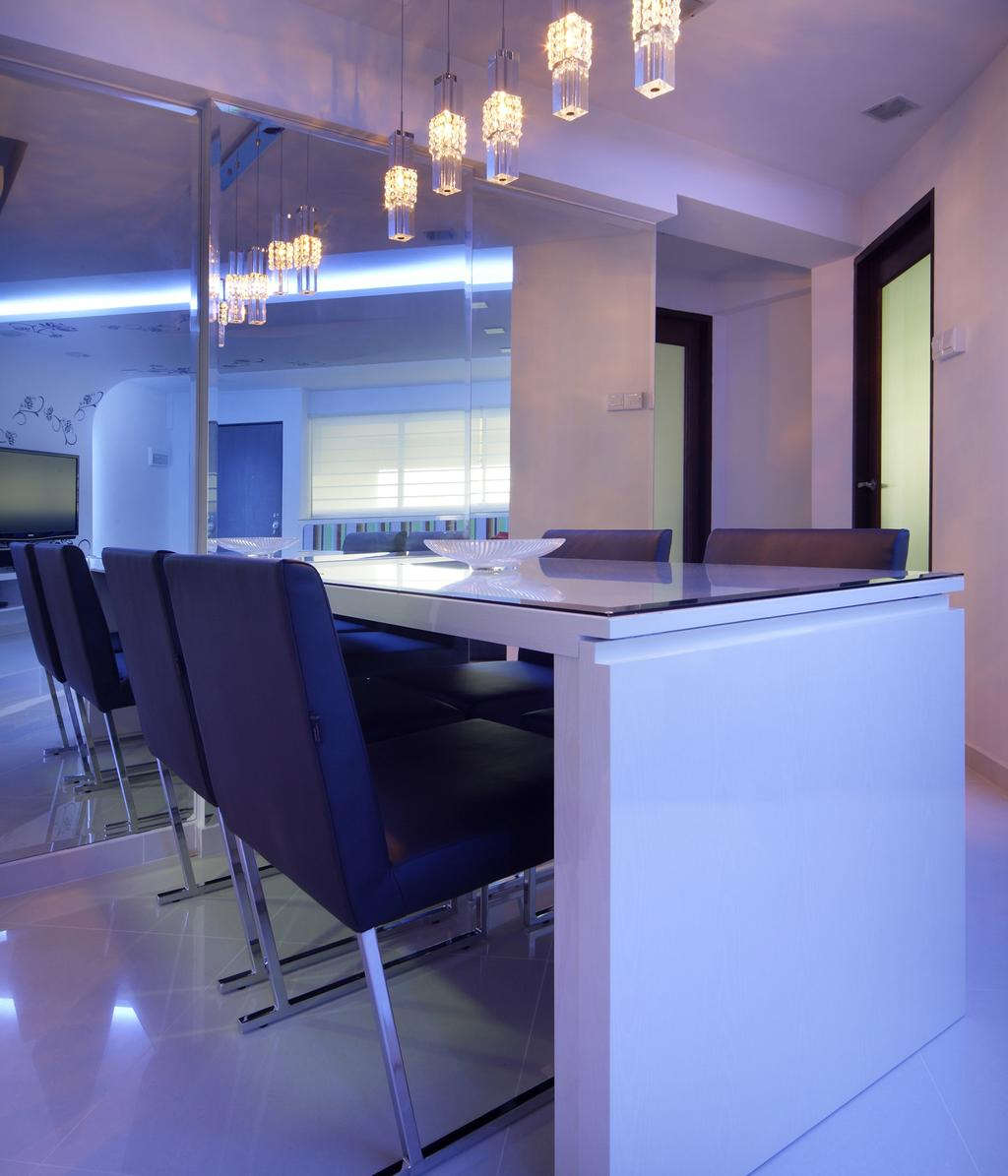 Transitional, HDB, Dining Room, Hougang Avenue 2, Interior Designer, Chapter One Interior Design, Full Length Mirror, Table, Dining Table, Hanging Light, Lighting, Pendant Light, White, Chair, Furniture, Conference Room, Indoors, Meeting Room, Room
