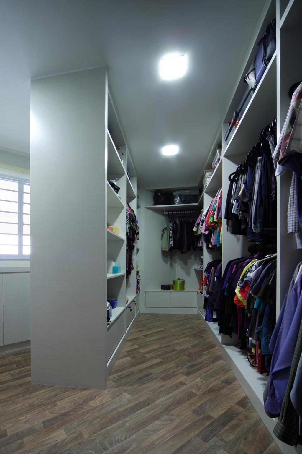 Transitional, HDB, Bedroom, Hougang Avenue 2, Interior Designer, Chapter One Interior Design, Walk In Wardrobe, Racks, Parquet, Shelf, Shelves, White