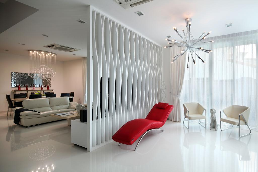 Contemporary, Landed, Living Room, Lorong Salleh (Block 16A), Interior Designer, The Scientist, Modern, Lounge Chair, Partition, White Partition, Natural Lighting, Bright, Chairs, Clean Colours, Simple Colours, White Curtains, Bright And Airy, Chair, Furniture, Indoors, Interior Design