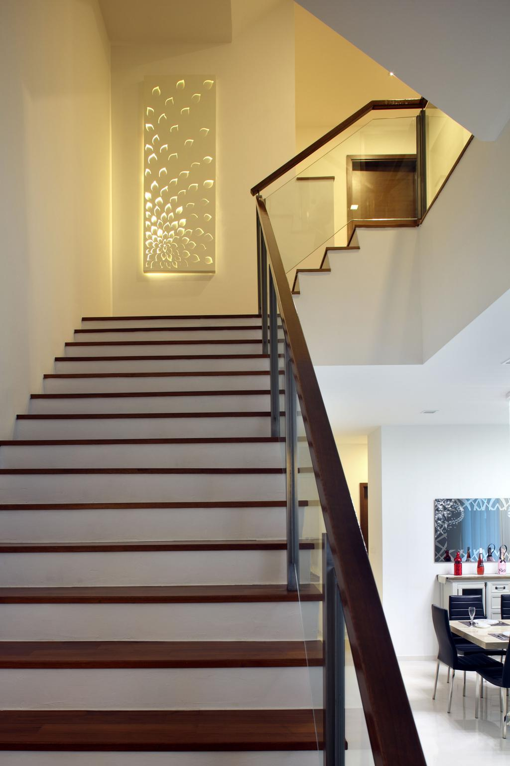 Contemporary, Landed, Living Room, Lorong Salleh (Block 16A), Interior Designer, The Scientist, Modern, Stairs, Staircase, Banister, Handrail