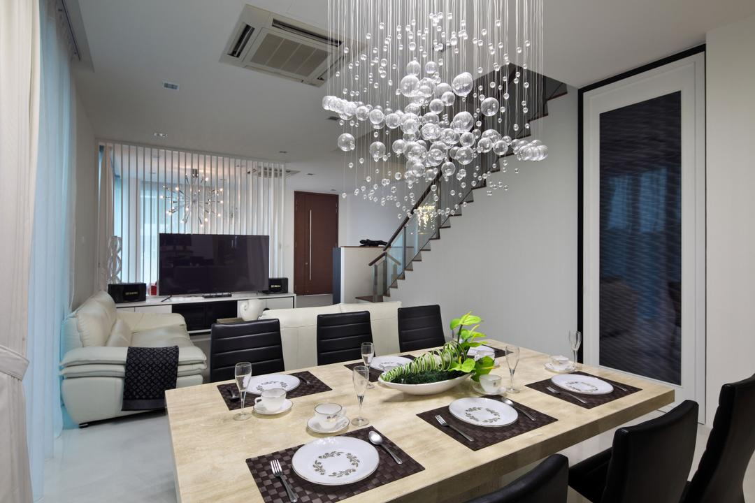 Lorong Salleh (Block 16A), The Scientist, Contemporary, Modern, Dining Room, Landed, Tableware, Dining Table, Marble Table, Dining Chairs, Crystal Lights, Posh, Expensive, Luxurious, Indoors, Interior Design, Room, Furniture, Table