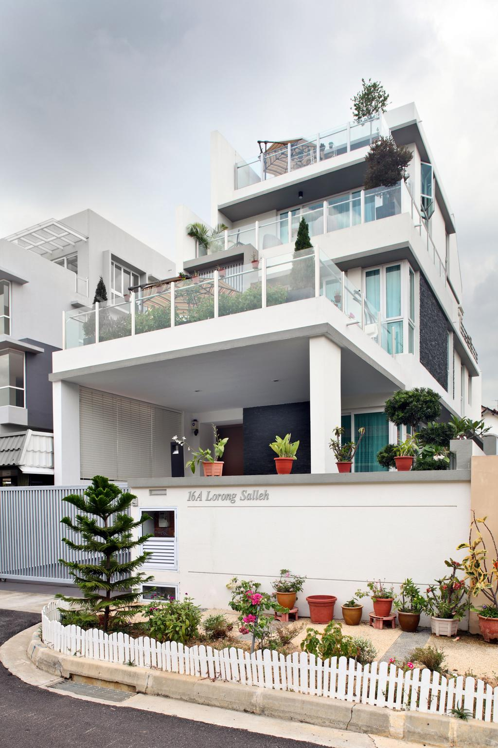 Contemporary, Landed, Lorong Salleh (Block 16A), Interior Designer, The Scientist, Modern, Home Exterior, Architecture, Home Structure, Gate, Entrance, Balcony, Building, House, Housing, Villa, Flora, Jar, Plant, Planter, Potted Plant, Pottery, Vase, Banister, Handrail