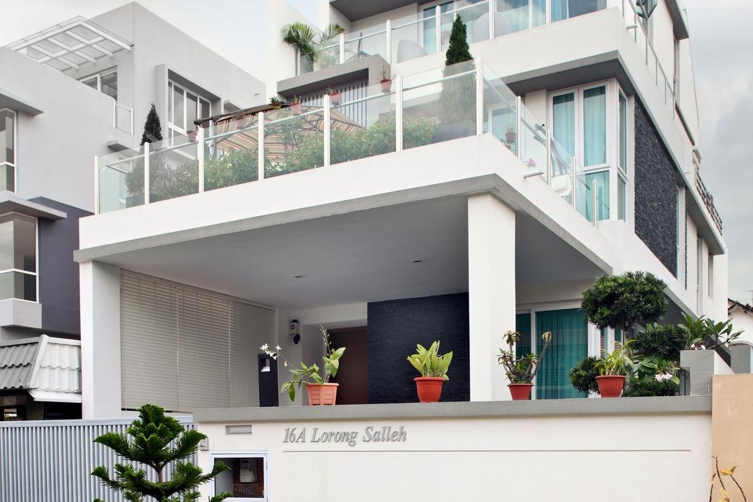 Lorong Salleh (Block 16A), The Scientist, Contemporary, Modern, Landed, Home Exterior, Architecture, Home Structure, Gate, Entrance, Balcony, Building, House, Housing, Villa, Flora, Jar, Plant, Planter, Potted Plant, Pottery, Vase, Banister, Handrail