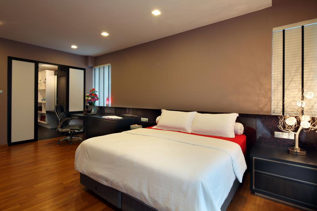 Lorong Salleh (Block 16A), The Scientist, Contemporary, Modern, Bedroom, Landed, Bedside Table, White Bed, Blinds, Venetian Blinds, Wood Floor, Wooden Flooring, Sliding Door, Brown Wall, Warm Colours, Bedside Lamp, Table Lamp, Bed, Furniture, Indoors, Room