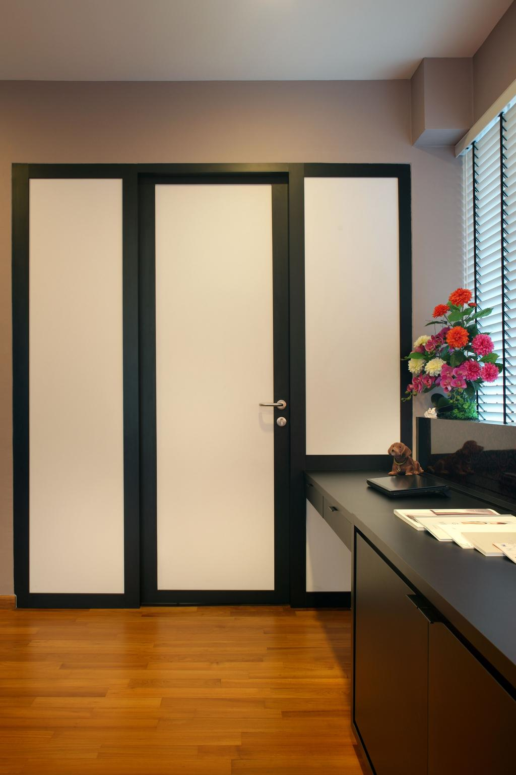 Contemporary, Landed, Bedroom, Lorong Salleh (Block 16A), Interior Designer, The Scientist, Modern, Door, Dressing Room, Black Trimmings, Flora, Jar, Plant, Potted Plant, Pottery, Vase, Sliding Door, Blossom, Flower, Flower Arrangement, Ornament, Folding Door