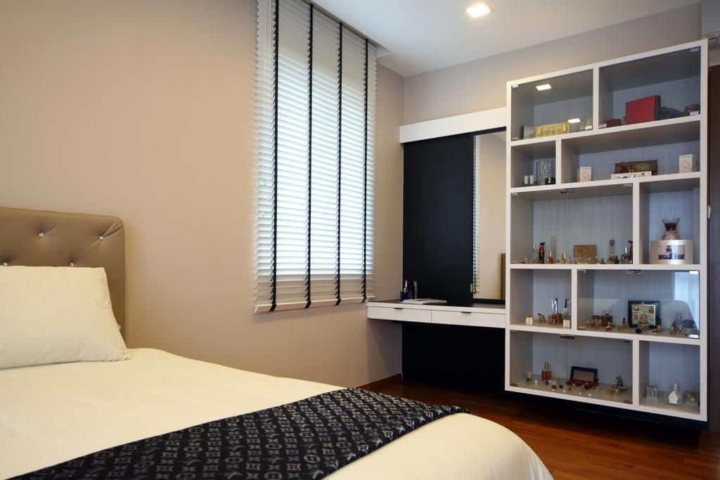 Contemporary, Landed, Bedroom, Lorong Salleh (Block 16A), Interior Designer, The Scientist, Modern, Display Cabinet, Shelves, Shelving, Collection, Dressing Table, Headboard, Bed Runner, Indoors, Interior Design, Room, Bed, Furniture
