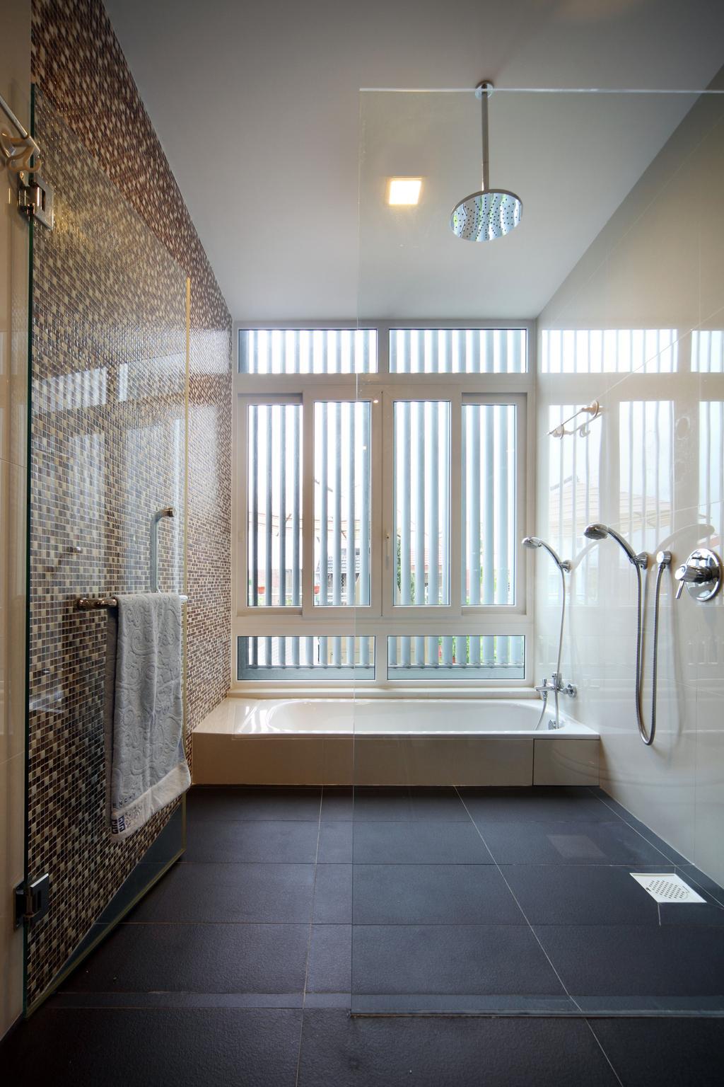 Contemporary, Landed, Bathroom, Lorong Salleh (Block 16A), Interior Designer, The Scientist, Modern, Neutral Colours, Rainshower, Zen, Light Brown, Hotel Style, Shower Screen, Bright, Indoors, Interior Design, Room