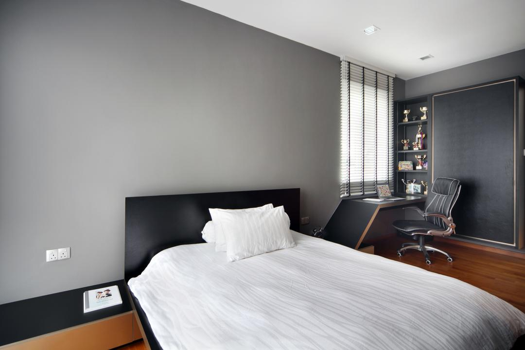 Lorong Salleh (Block 16A), The Scientist, Contemporary, Modern, Bedroom, Landed, White Bed, White And Grey, Black And White, Monochrome, Bed Ledge, Study Table, Office Chair, Bedside Table, Black Furniture, Black Cabinet, Indoors, Interior Design, Room, Chair, Furniture