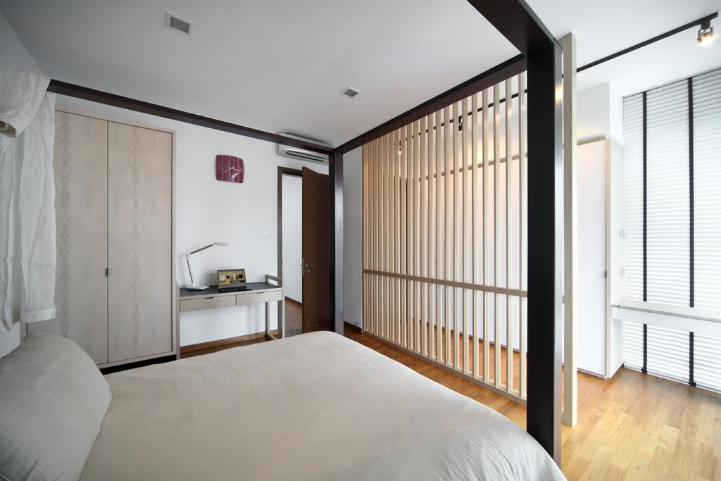 Contemporary, Landed, Bedroom, Lorong Salleh (Block 16A), Interior Designer, The Scientist, Modern, Partition, Neutral Colours, Simple Colours, Wardrobe, White And Wood, White And Brown, Blinds, Venetian Blinds, Desk, Furniture, Table, Indoors, Interior Design, Room, Flooring