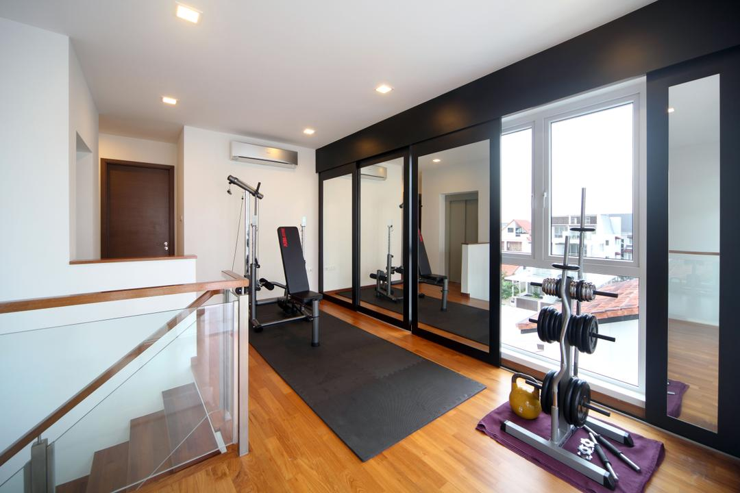 Lorong Salleh (Block 16A), The Scientist, Contemporary, Modern, Living Room, Landed, Gym, Exercise, In House Gym, Balcony, Sliding Door, Indoors, Interior Design, Fitness, Sport, Sports, Working Out