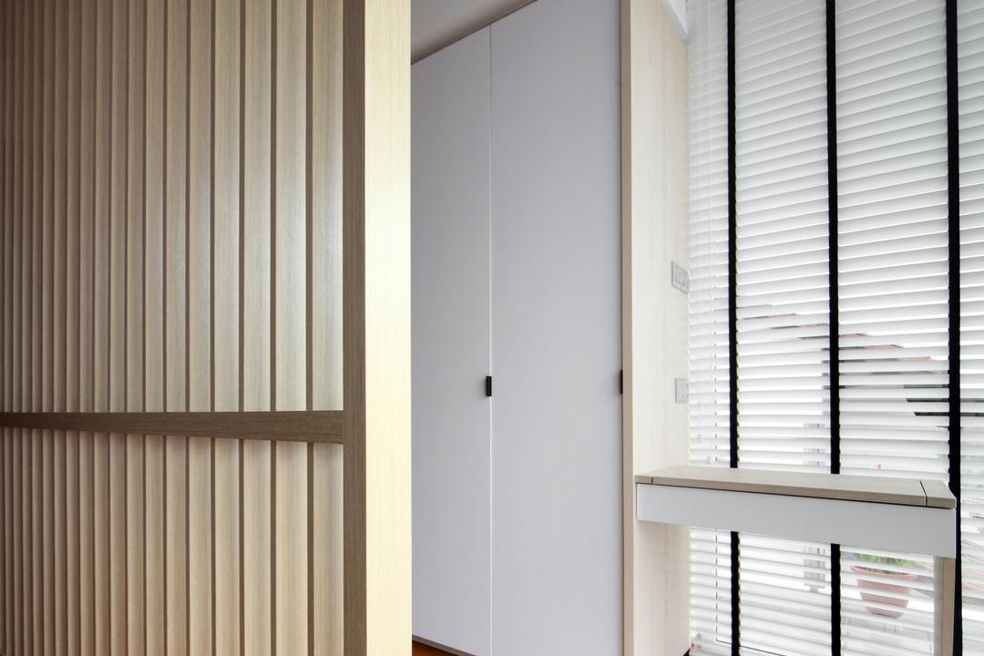Lorong Salleh (Block 16A), The Scientist, Contemporary, Modern, Bedroom, Landed, Partition, White Cabinet, Wardrobe, White Wardrobe, Closet, Diary, Text, Door, Folding Door