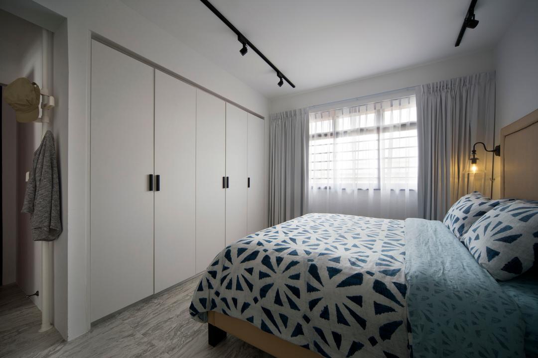Segar Road (Block 547A), The Scientist, Retro, Eclectic, Bedroom, HDB, Wardrobe, White Wardrobe, Curtains, Bedsheet, Patterns, Track Lighting, Bed, Furniture, Indoors, Interior Design, Room