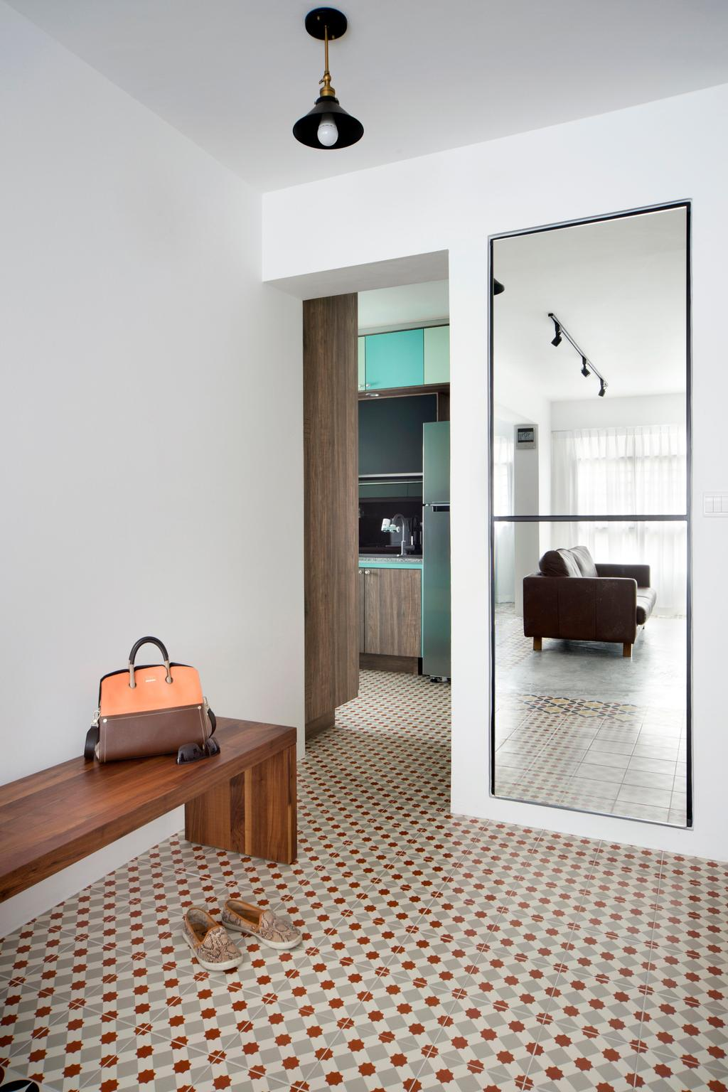 Retro, HDB, Bedroom, Segar Road (Block 547A), Interior Designer, The Scientist, Eclectic, Bench, Mosaic Tiles, Full Length Mirror, Wall Mirror, Shelf, Floor, Bag, Closet, Furniture, Wardrobe
