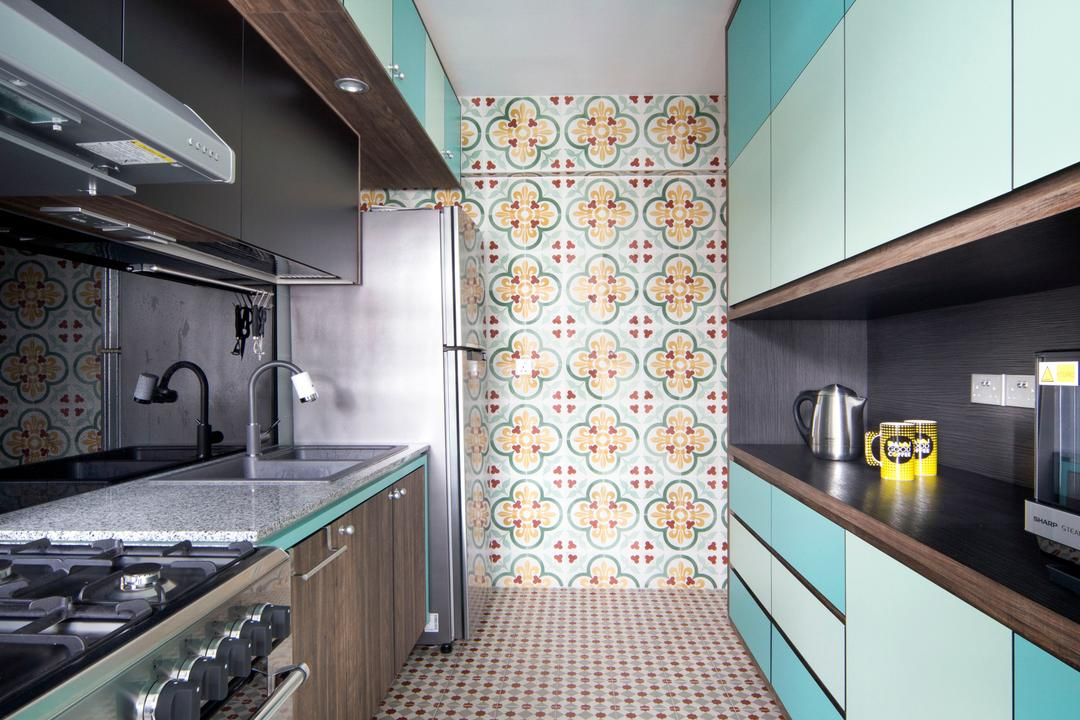 Segar Road (Block 547A), The Scientist, Retro, Eclectic, Kitchen, HDB, , Patterned Tiles, Mosaic Tiles, Kitchen Tiles, Colours, Colourful, Blue Cabinet, Blue, Kitchen Cabinet, Colourful Kitchen, Backplash, Stove, Oven, Roof Rack, Subway, Terminal, Train, Train Station, Transportation, Vehicle