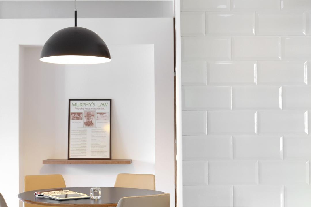 Jalan Membina (Block 118C), The Scientist, Minimalistic, Modern, Dining Room, HDB, Subway Tiles, White, All White, Light Bulb Pendant Lamp, Light Bulb, Exposed Bulb, Clean, Lamp