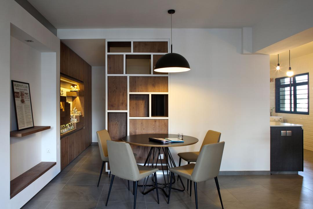 Jalan Membina (Block 118C), The Scientist, Minimalistic, Modern, Dining Room, HDB, Shelves, Shelving, Storage Space, Dome Light, Round Table, Round Dining Table, Pencil Legs, Dining Chairs, Wall Shelf, Dining Table, Furniture, Table, Chair, Indoors, Interior Design, Room