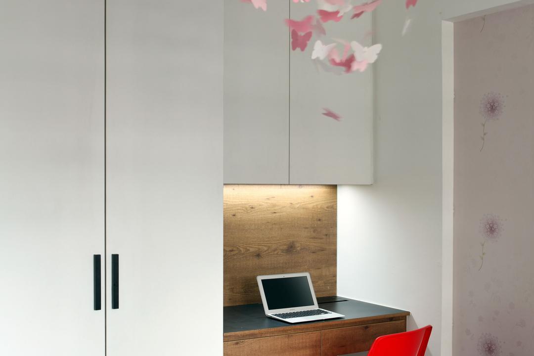 Jalan Membina (Block 118C), The Scientist, Minimalistic, Modern, Study, HDB, Study Table, Office Chair, Under Cabinet Lighting, Home Decor, Ornaments, White Cabinet