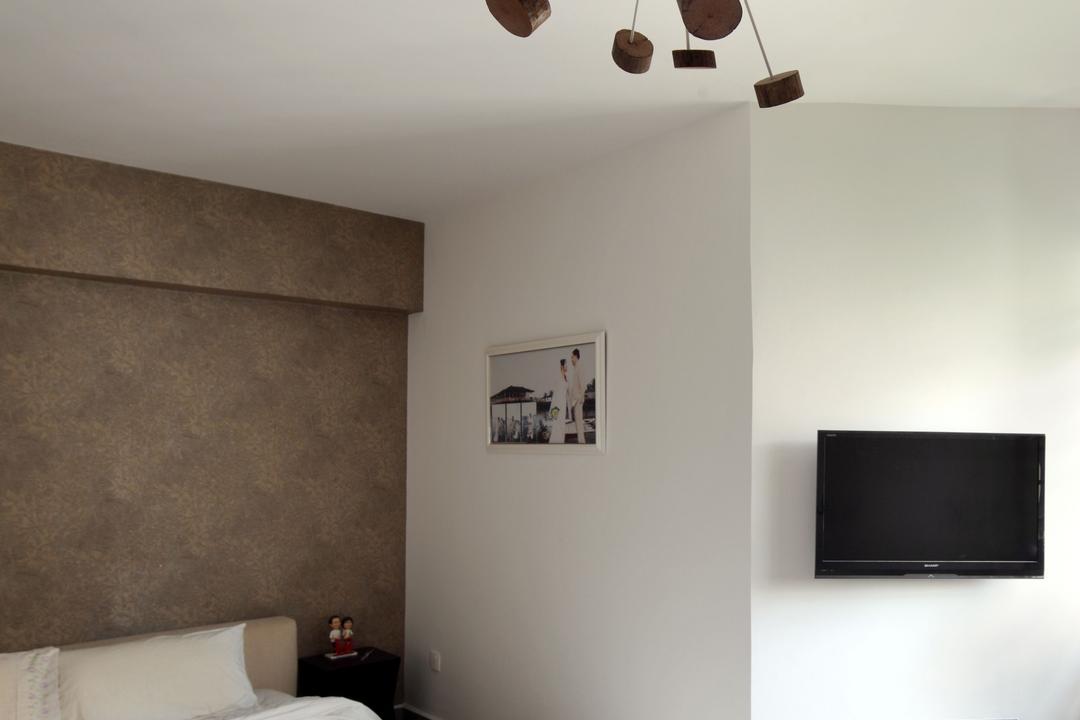 Jalan Membina (Block 118C), The Scientist, Minimalistic, Modern, Bedroom, HDB, Home Decor, Fancy Lamp, Ceiling Lamp, White Bed, Wallpaper, Ledge, Wall Ledge, White Bedroom, Art, Art Gallery