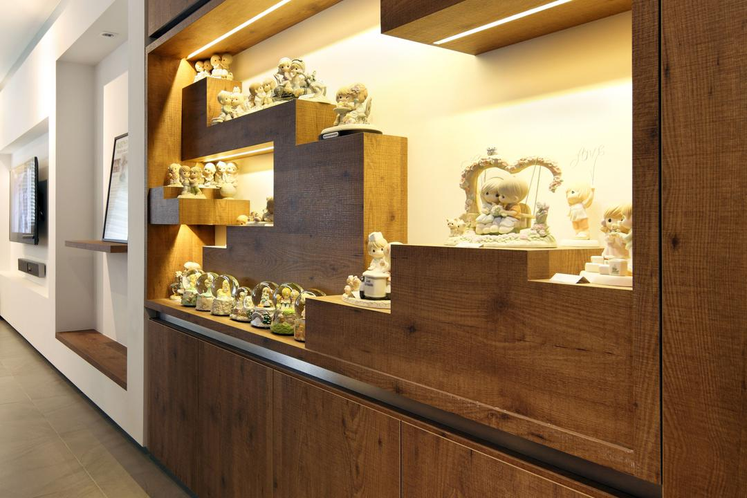 Jalan Membina (Block 118C), The Scientist, Minimalistic, Modern, Living Room, HDB, Kitchen Cabinet, Cabinetry, Under Cabinet Lighting, Wood Grain, Woody, Clay, Figurines, Collection, Indoors, Interior Design