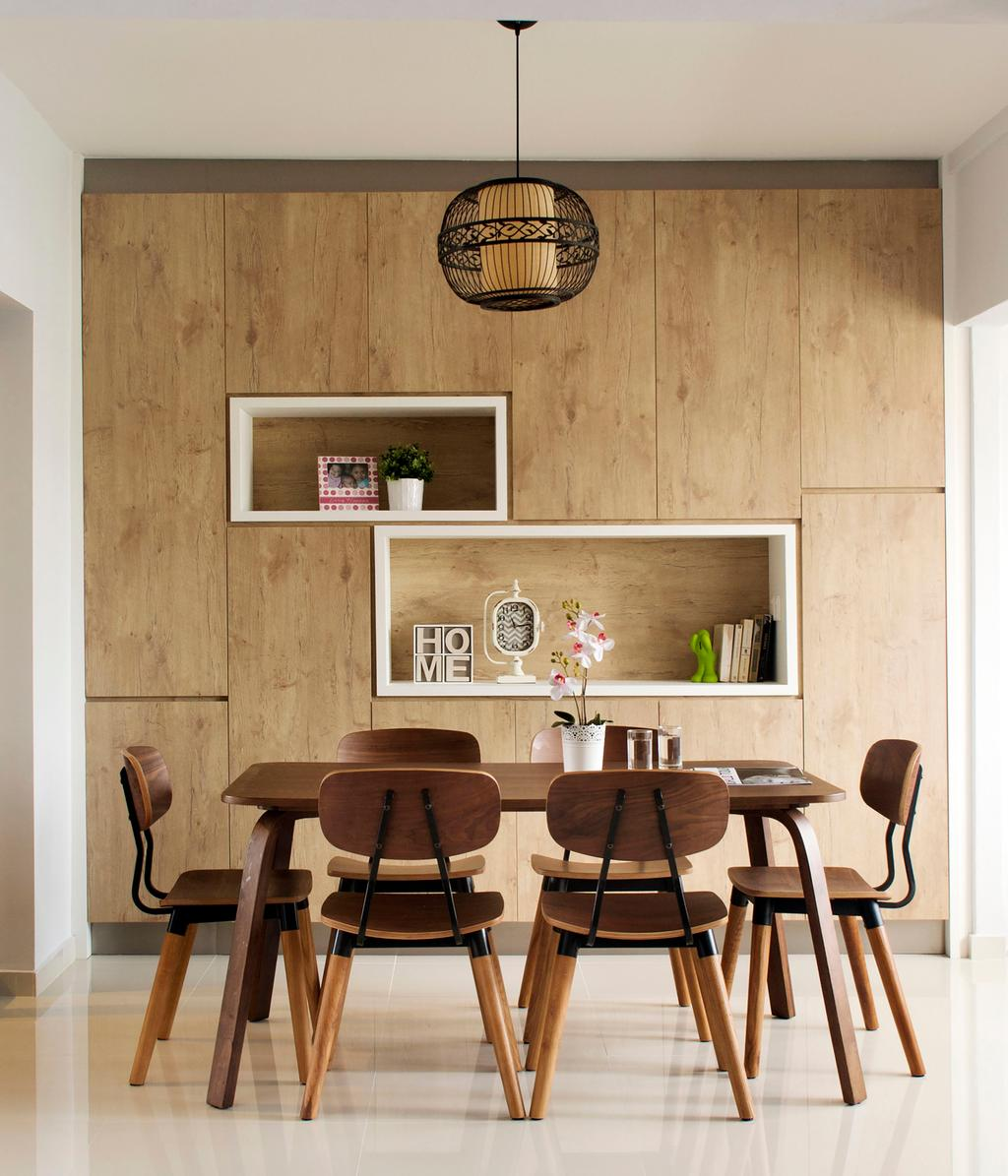 Scandinavian, HDB, Dining Room, Tampines (Block 450D), Interior Designer, The Scientist, Minimalistic, Recessed Shelves, Cabinet, Cabinetry, Storage Ideas, Dining Table, Dining Chairs, Pendant Lamp, Chair, Furniture, Table, Indoors, Interior Design, Room