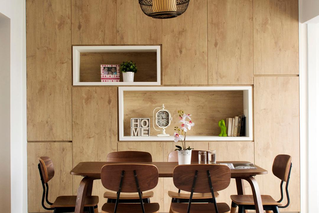 Tampines (Block 450D), The Scientist, Scandinavian, Minimalistic, Dining Room, HDB, Recessed Shelves, Cabinet, Cabinetry, Storage Ideas, Dining Table, Dining Chairs, Pendant Lamp, Chair, Furniture, Table, Indoors, Interior Design, Room