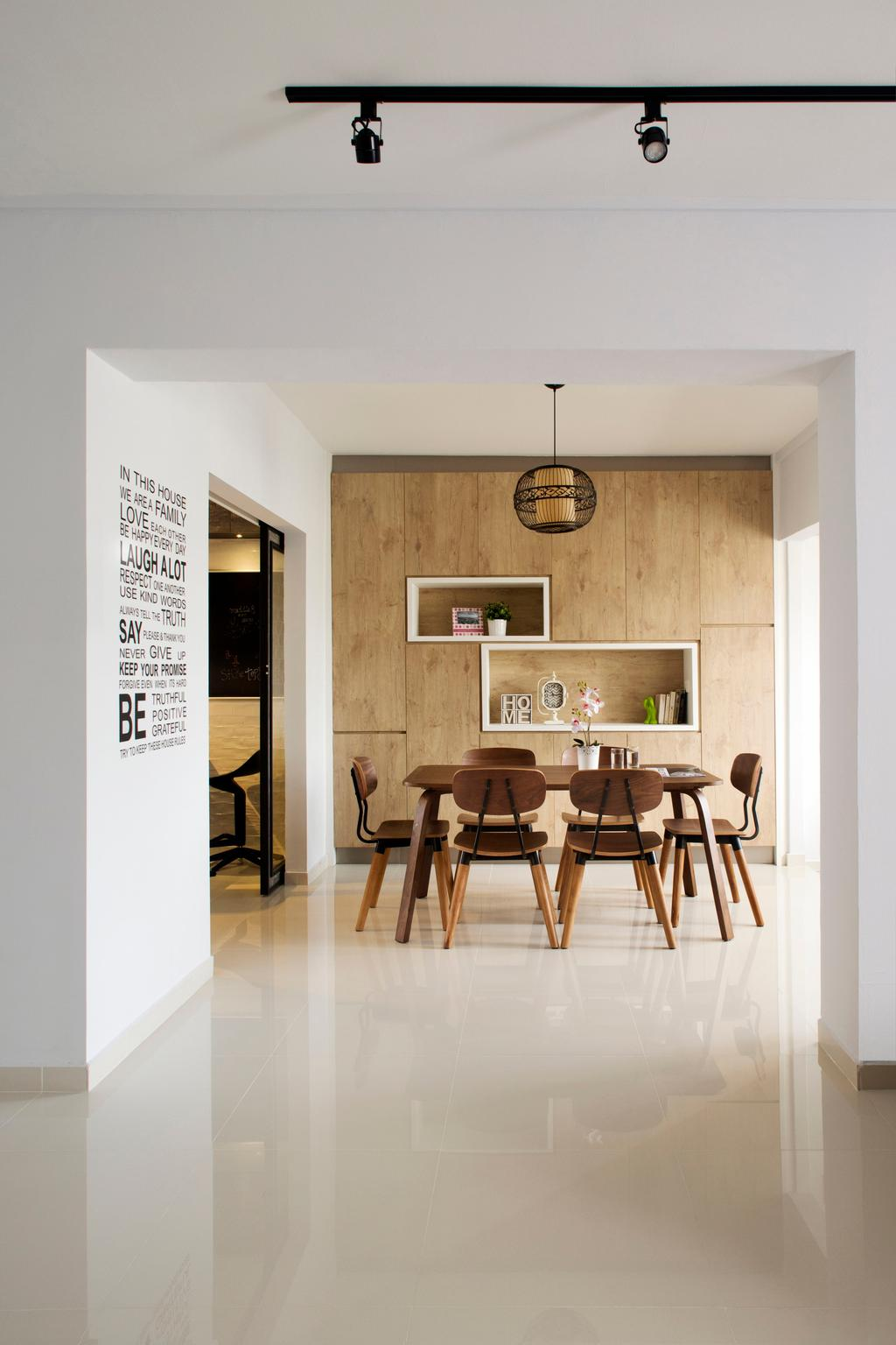 Scandinavian, HDB, Dining Room, Tampines (Block 450D), Interior Designer, The Scientist, Minimalistic, Open Space, Brown, Light Brown, Woody, Feature Wall, Shelves, Recessed Shelves, Indoors, Interior Design, Room, Dining Table, Furniture, Table, Chair