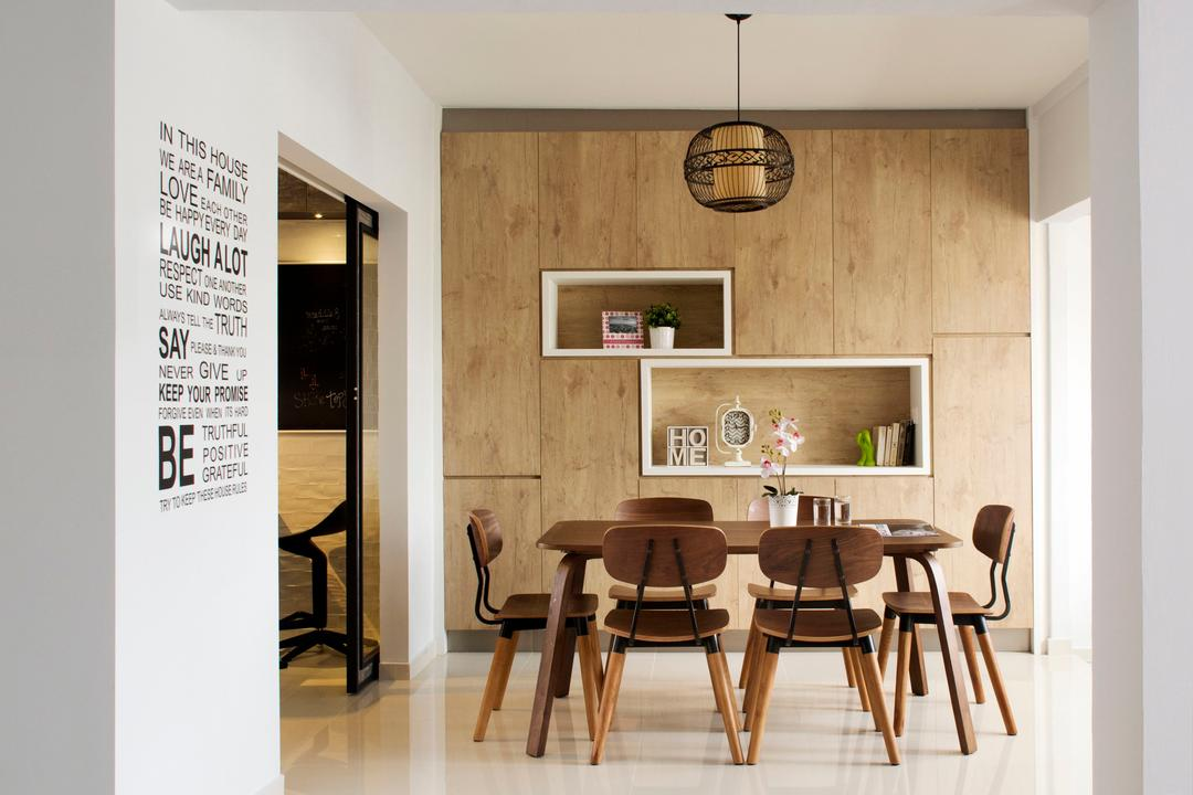 Tampines (Block 450D), The Scientist, Scandinavian, Minimalistic, Dining Room, HDB, Open Space, Brown, Light Brown, Woody, Feature Wall, Shelves, Recessed Shelves, Indoors, Interior Design, Room, Dining Table, Furniture, Table, Chair