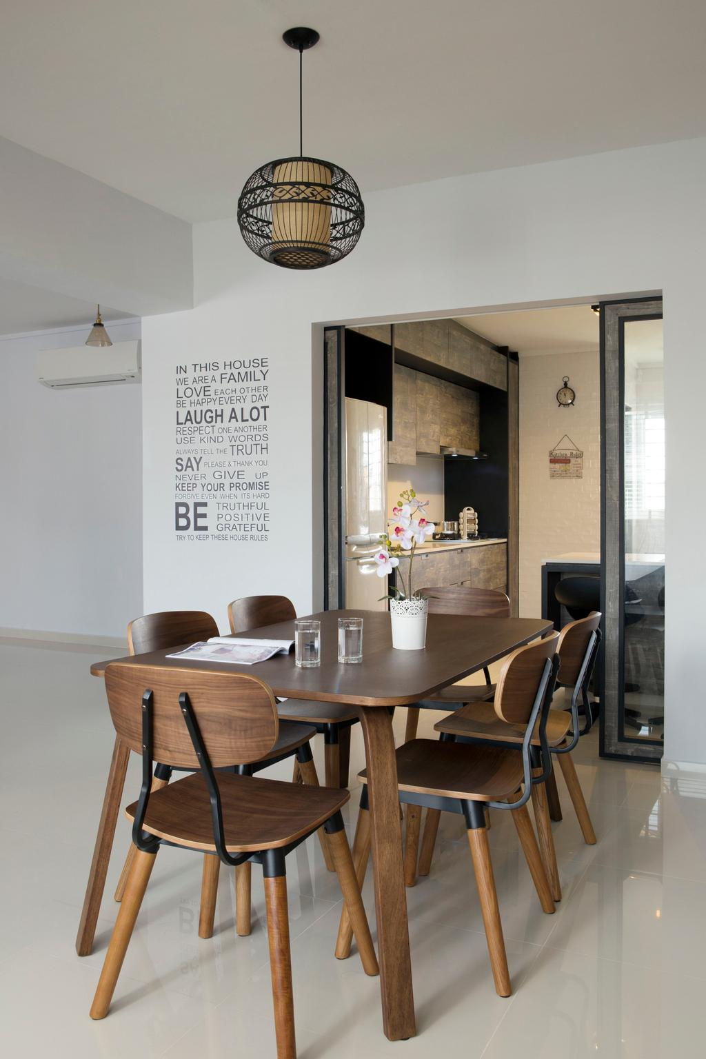 Scandinavian, HDB, Dining Room, Tampines (Block 450D), Interior Designer, The Scientist, Minimalistic, Dining Table, Dining Chairs, Chairs, Wooden Leg, Pendant Lamp, Round Pendant Lamp, Kitchen Door, Furniture, Table, Chair, Indoors, Interior Design, Room