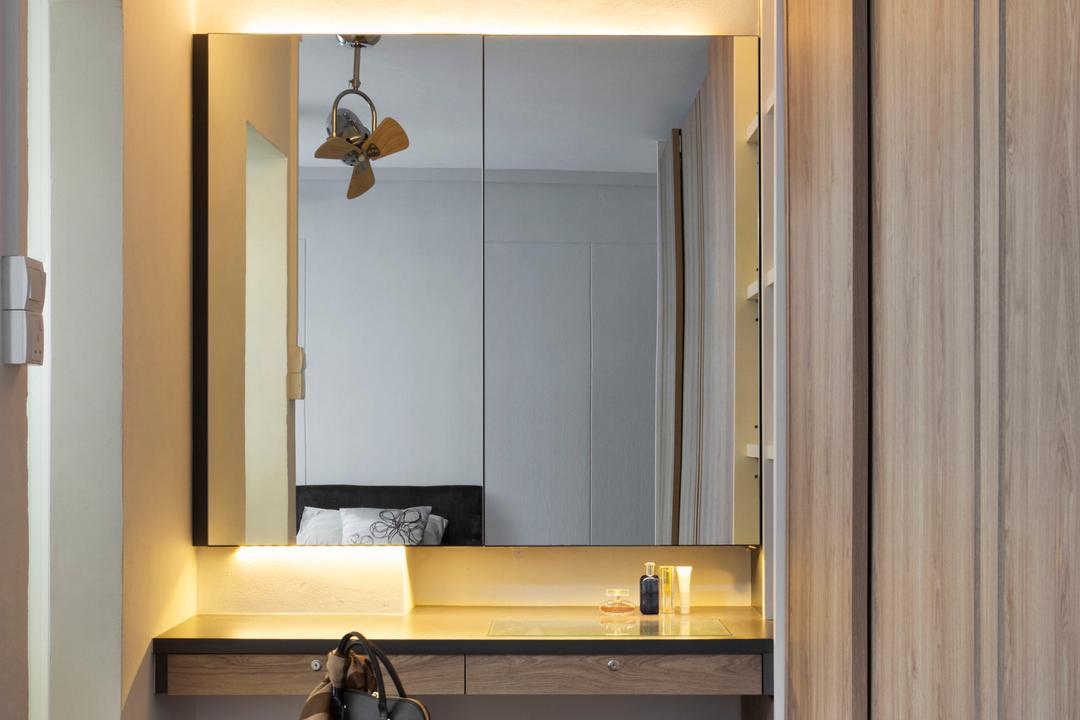 Tampines (Block 450D), The Scientist, Scandinavian, Minimalistic, Bedroom, HDB, Dressing Room, Dressing Table, Vanity Table, Concealed Lighting, Mirror, Cushioned Bench, Indoors, Interior Design
