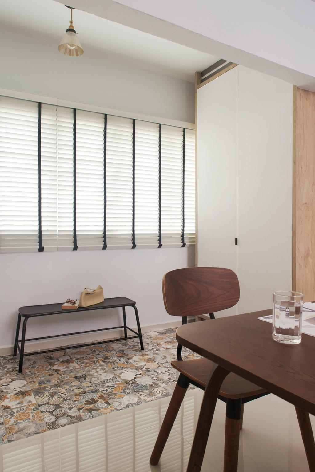 Scandinavian, HDB, Living Room, Tampines (Block 450D), Interior Designer, The Scientist, Minimalistic, Blinds, Venetian Blinds, Patterned Tiles, Floor Tiles, Chair, Furniture, Cup, Glass