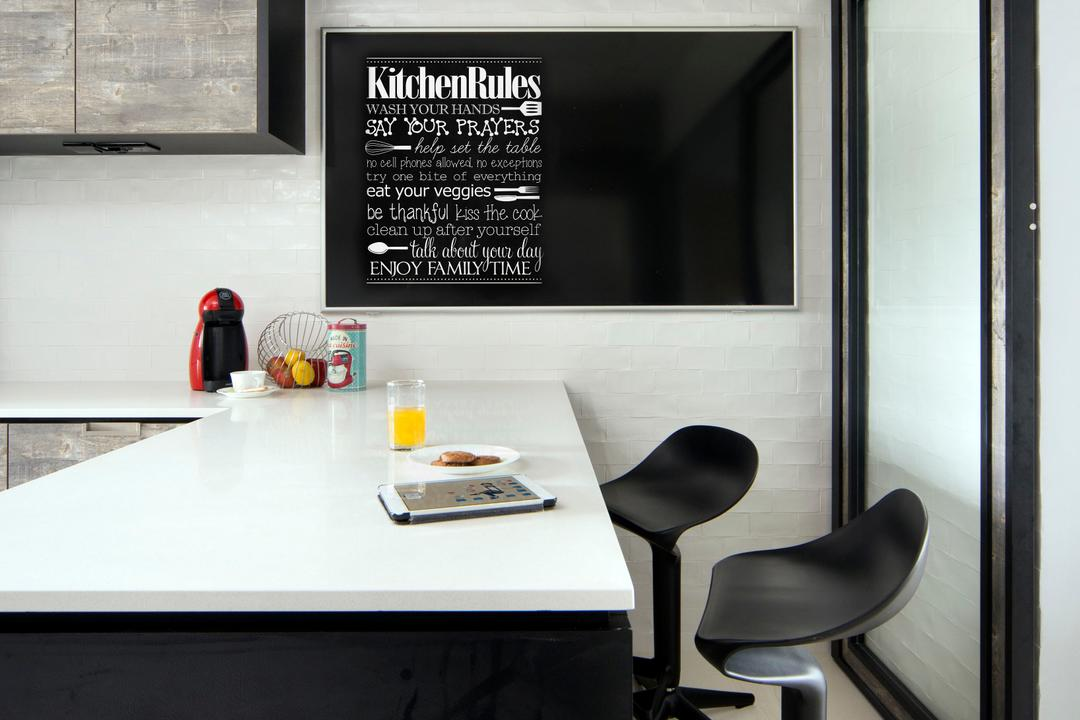 Tampines (Block 450D), The Scientist, Scandinavian, Minimalistic, HDB, Chalkboard, White Countertop, Kitchen Countertop, Bar Stools, Stools, Black And White, Monochrome, Chair, Furniture, Dining Table, Table
