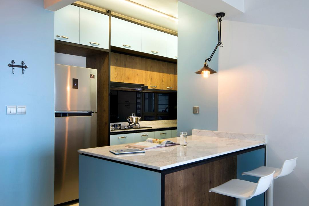 Sengkang West Way (Block 433A), The Scientist, Eclectic, Modern, Dining Room, HDB, Stools, Bar Stools, High Stools, Kitchen Ledge, Kitchen Island, Blue, Blue Furniture, Colours, Colourful, Refrigerator, Appliance, Electrical Device, Oven, Toilet, Indoors, Interior Design, Kitchen, Room, Dishwasher, Furniture