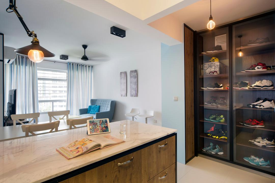 Sengkang West Way (Block 433A), The Scientist, Eclectic, Modern, Living Room, HDB, Shoe Cabinet, Display Cabinet, Collection, Shoe Collection, Marble Countertop, Kitchen Countertop, Pendant Lamp, Exposed Bulb, Ligt Bulb, Pastel Colours, Pastel Blue, Couch, Furniture, Indoors, Interior Design, Dining Room, Room