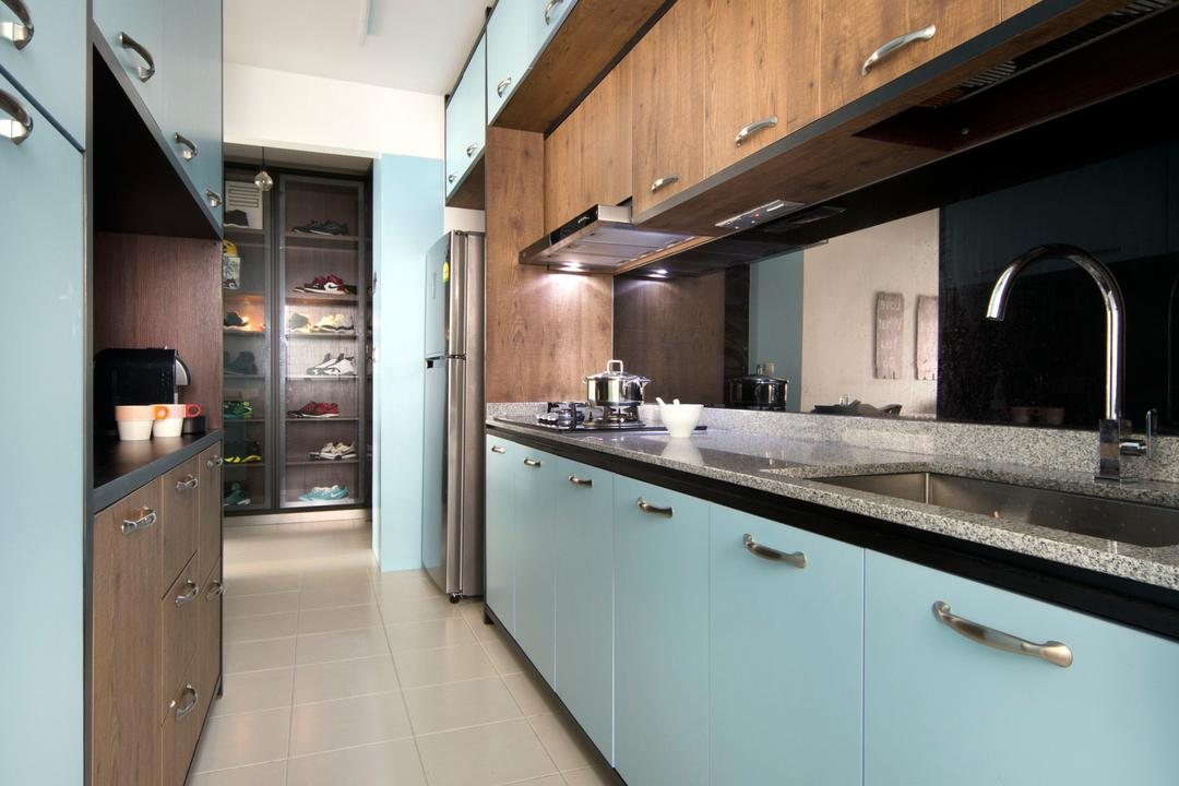 Sengkang West Way (Block 433A), The Scientist, Eclectic, Modern, Kitchen, HDB, Blue Cabinet, Blue Kitchen, Blue Furniture, Kitchen Cabinetry, Kitchen Cabinet, Kitchen Sink, Light Blue, Pastel Colours, Pastel Blue, Indoors, Interior Design, Room, Tap, Appliance, Electrical Device, Oven