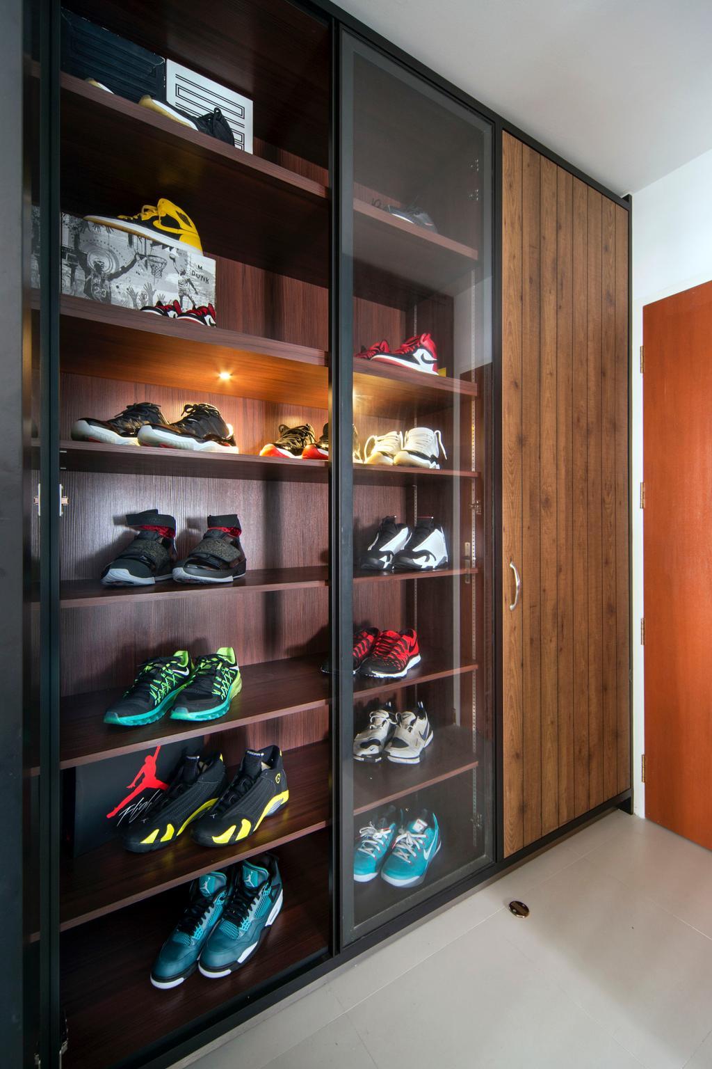 Eclectic, HDB, Living Room, Sengkang West Way (Block 433A), Interior Designer, The Scientist, Modern, Shoe Cabinet, Shoe Collection, Collection, Sliding Door, Display Cabinet, Clothing, Footwear, Shoe