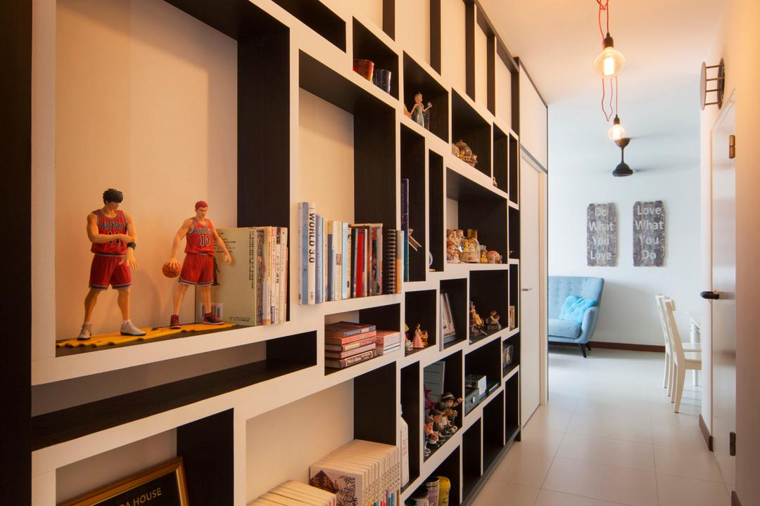 Sengkang West Way (Block 433A), The Scientist, Eclectic, Modern, Living Room, HDB, Wall Shelves, Shelving, Patterned Tiles, Books, Recessed Shelves, Bookshelf, Warm Lighting, Walkway, Hallway, Display, Human, People, Person, Shelf, Flooring, Bookcase, Furniture, Dining Table, Table