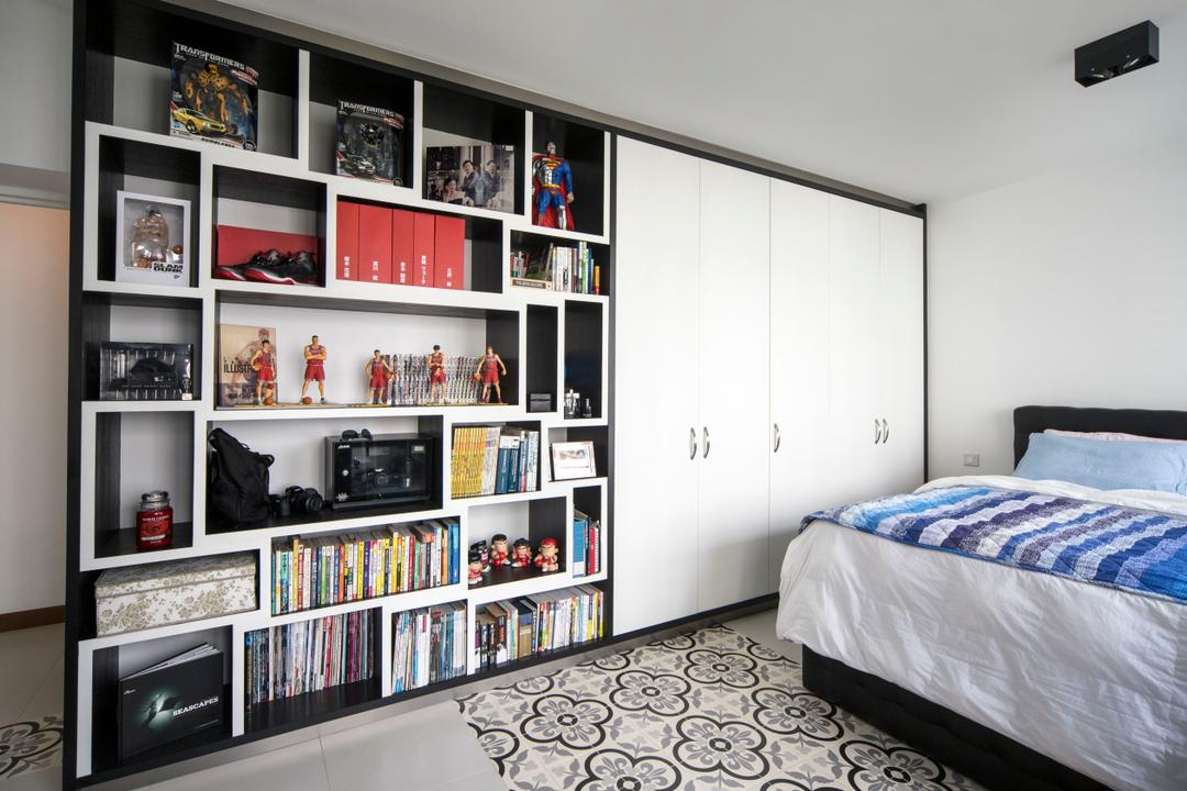 Sengkang West Way (Block 433A), The Scientist, Eclectic, Modern, Bedroom, HDB, Bookshelf, Books, Display Cabinet, Shelves, Collection, Collectible, Storage Space, Patterned Tiles, White Cabinet, Floor Tiles, Black And White, Monochrome, Bed, Furniture, Indoors, Interior Design, Room